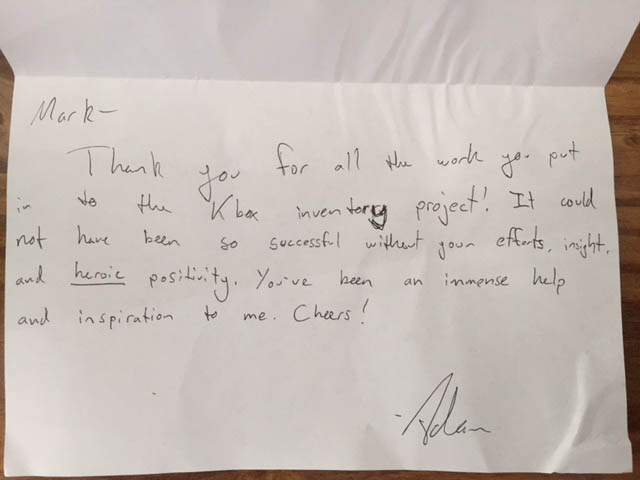 Thank You letter from Adam